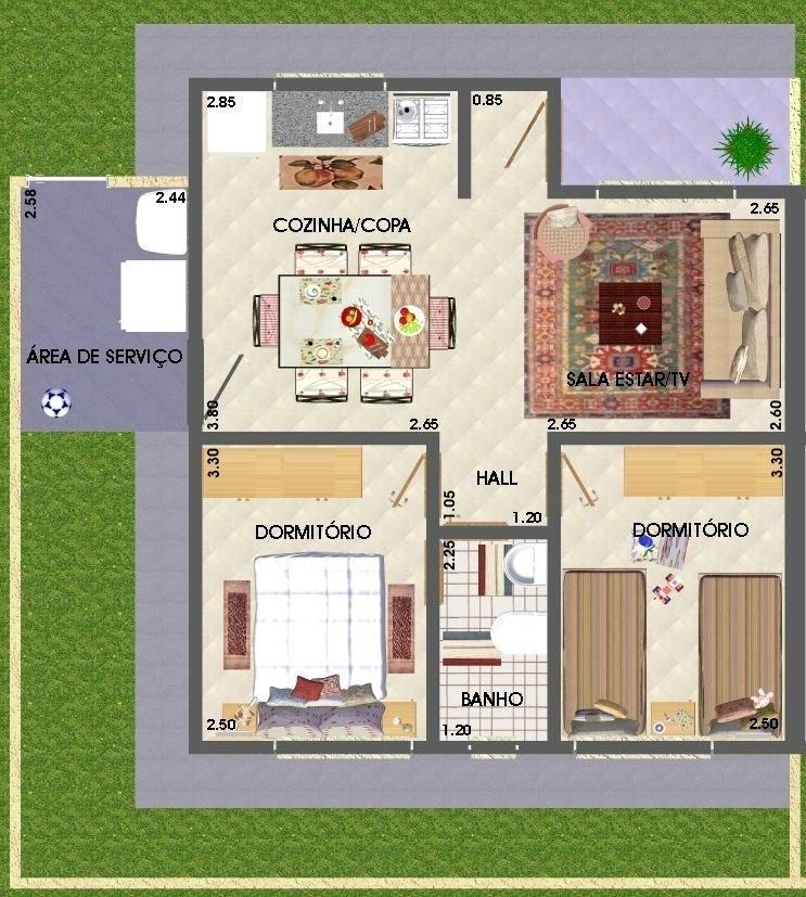 projetos de casas populares com 2 quartos