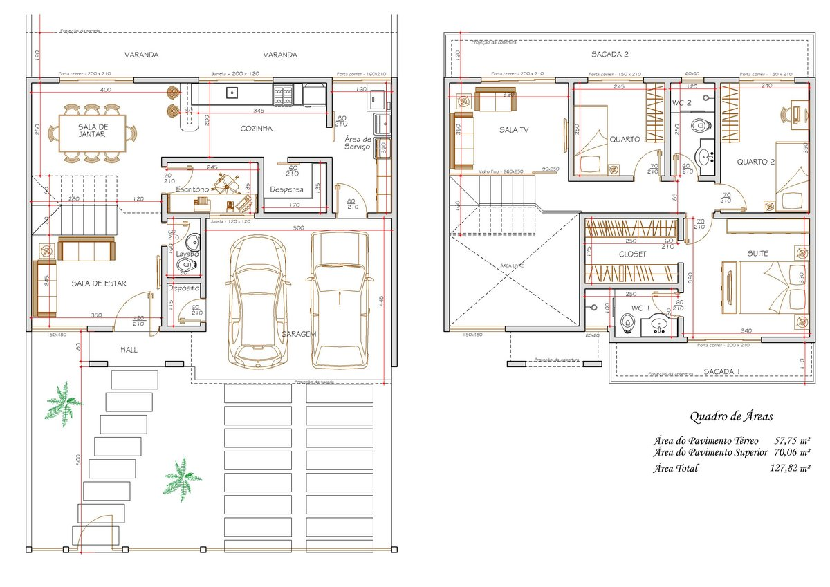 projetos de casas 2 andares 3 quartos