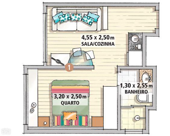 plantas de casas com 1 quarto sala cozinha e banheiro