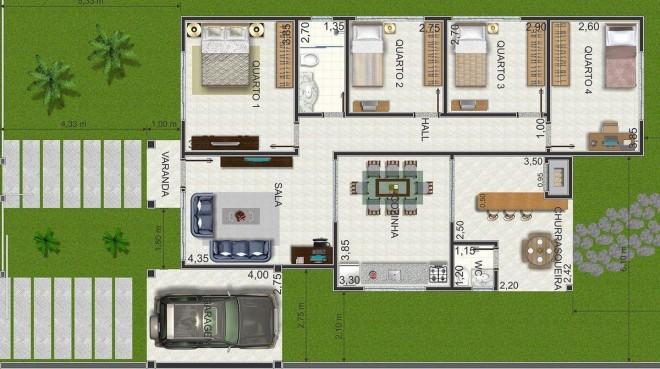 plantas de casas terreas com 4 quartos gratis