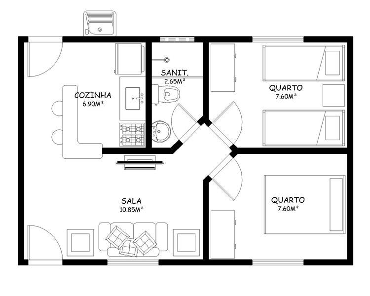 projetos de casas simples com 2 quartos