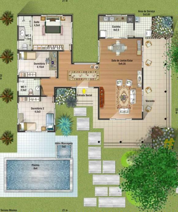 plantas de casas com piscina e area de lazer