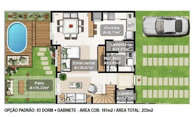 plantas de casas com area e garagem