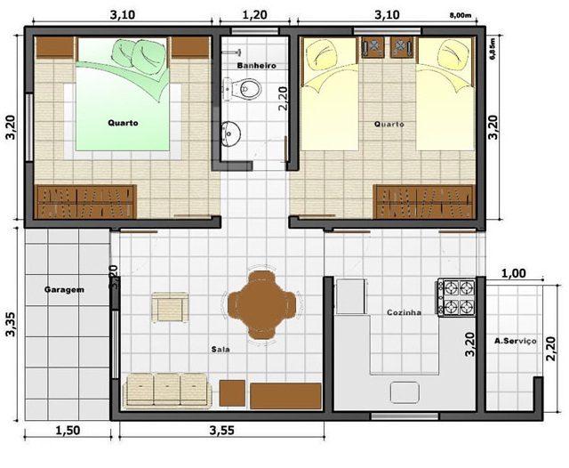 planta de casas com 2 quartos