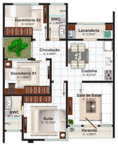 plantas de casas pequenas com 2 banheiros