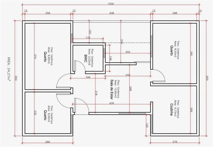 Decora o e projetos plantas de casas com medidas gr tis for Plantas arquitectonicas de casas