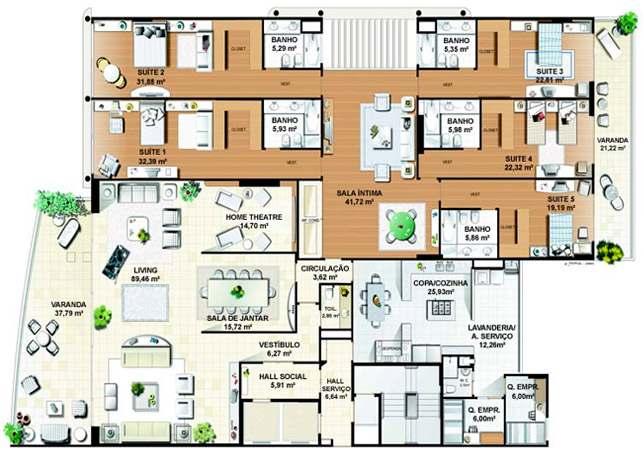 casas modernas com 5 quartos