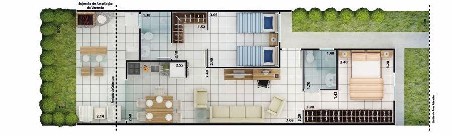 plantas de casas com varanda nos fundos