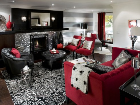 Decora o de sala com sof vermelho fotos - Black white and red bedroom decorating ideas ...
