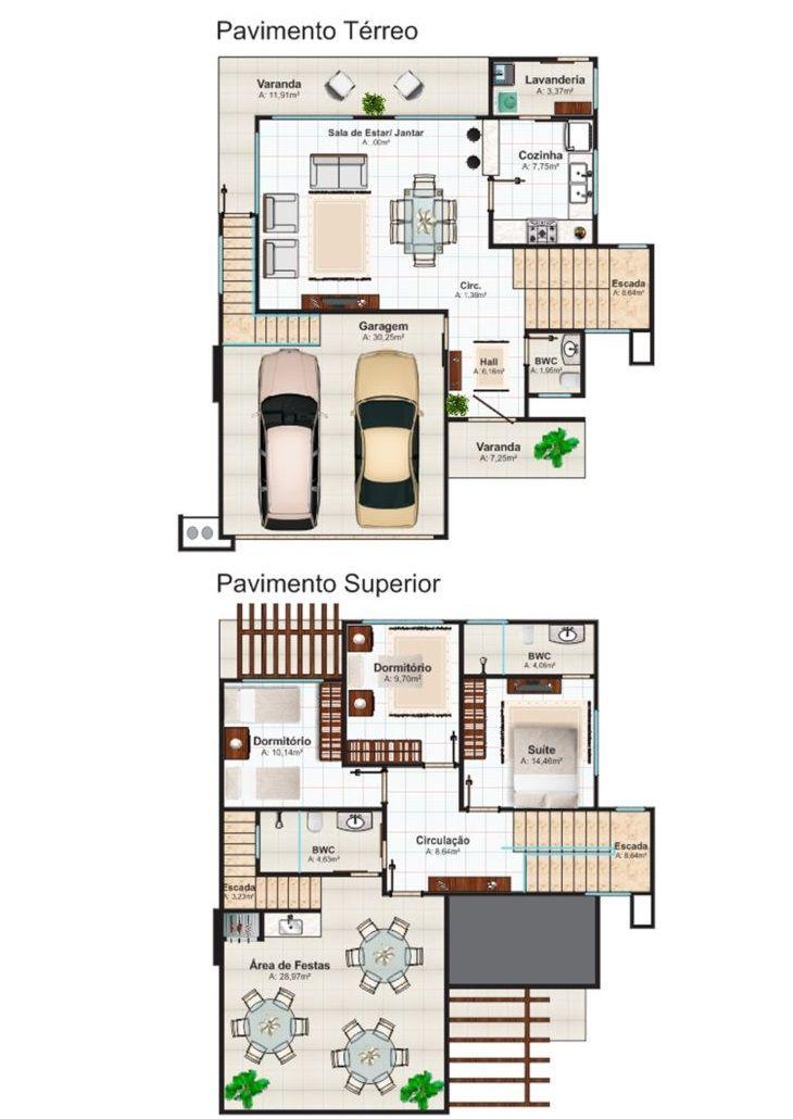 projetos para casas de 3 quartos