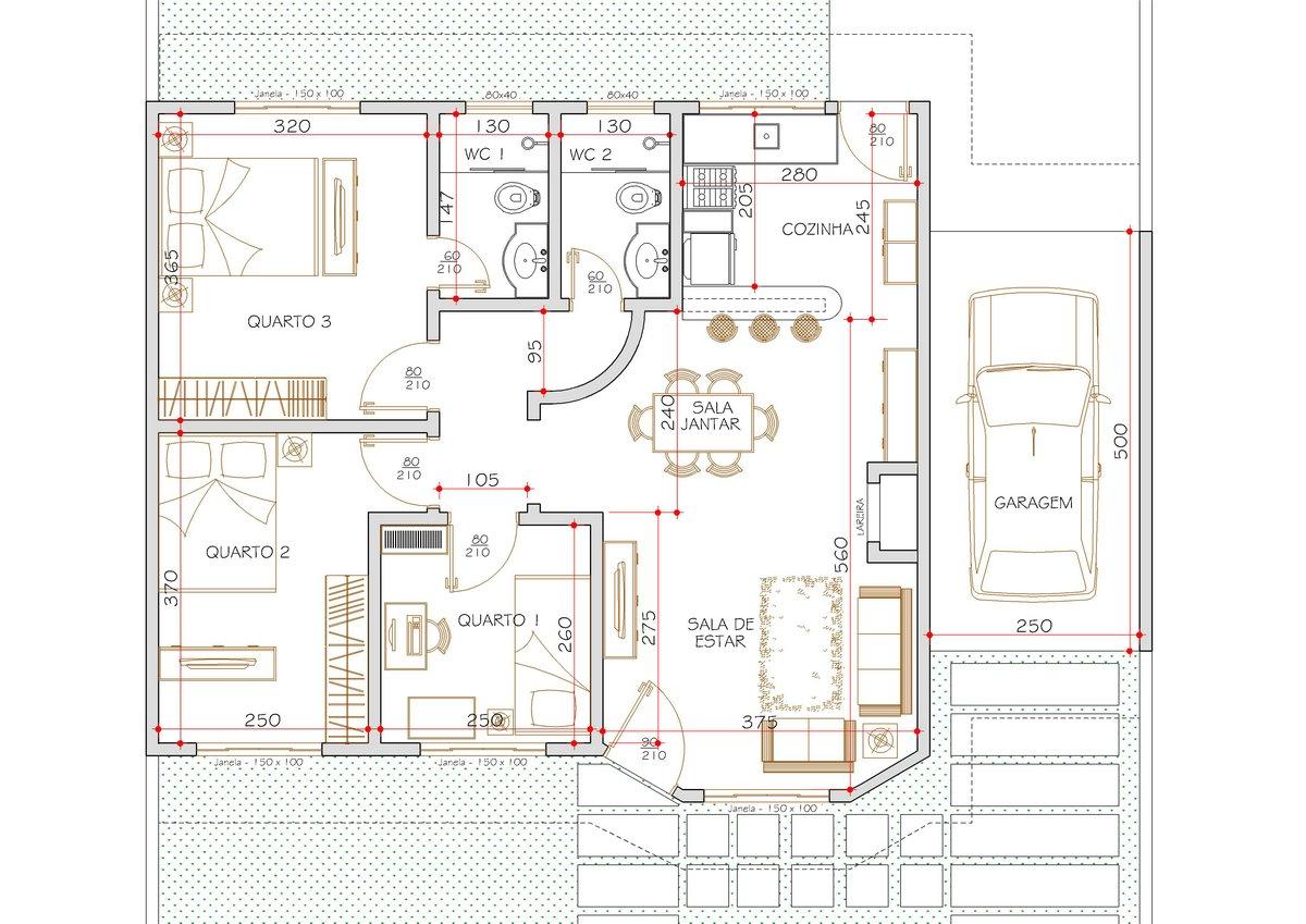 Projetos de casas térreas modernas #AC1F21 1200 849