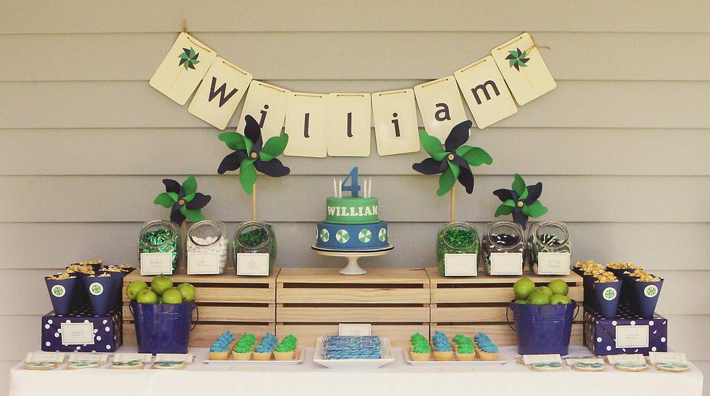 decoracao festa simples:Pinwheel Dessert Table