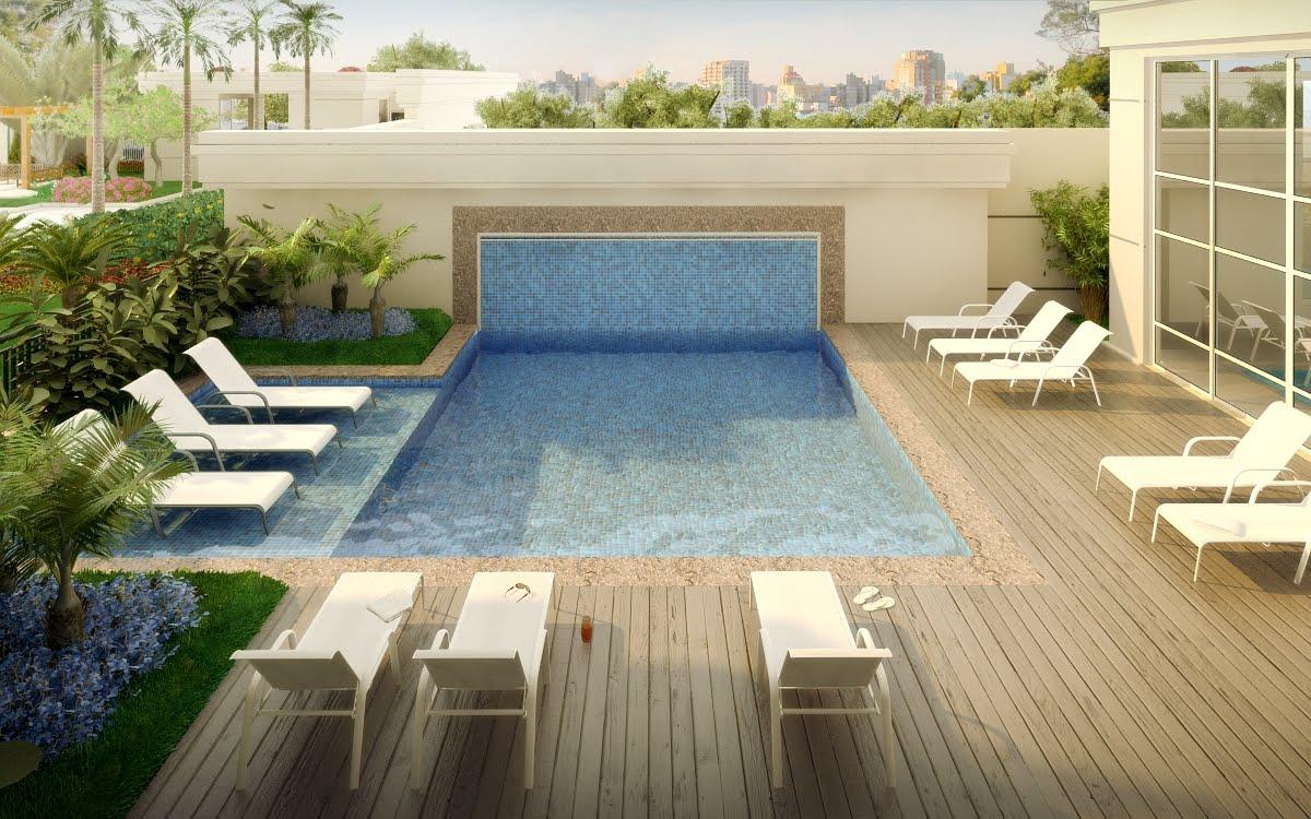 Decora o e projetos decora o de terra o com piscina for Fotos de piscinas climatizadas