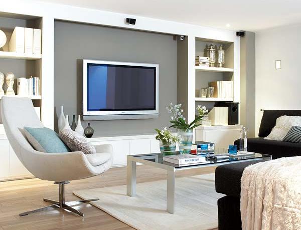 Sala De Estar Y Despacho ~  Projetos – Fotos de TVs na parede – Ideias de decoração