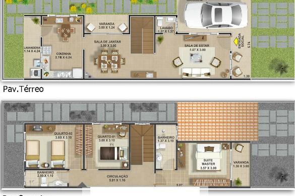 Decora o e projetos plantas de sobrados geminados for Casa moderna 7x20