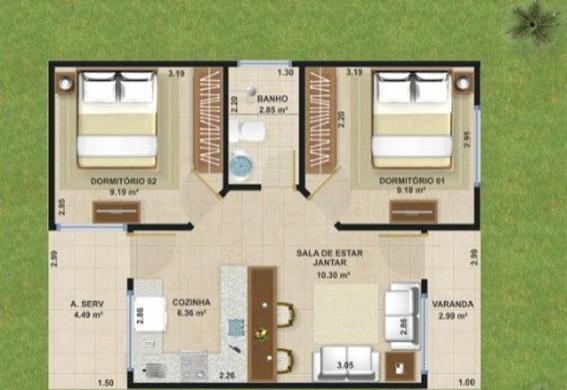 Decora o e projetos projetos de casas de 50m2 veja for Casa moderna de 50 m2