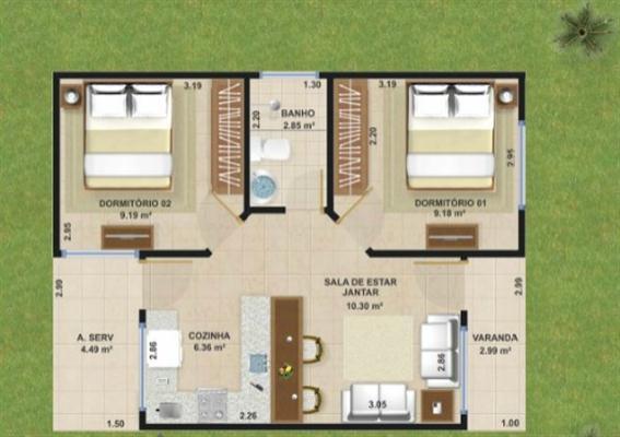 Top Decoração e Projetos Projetos de casas de 50m2 - Veja modelos de  MM79