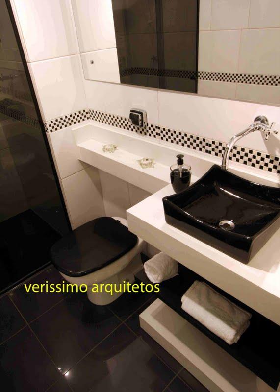 Gabinete Para Banheiro Pastilhas preto e branco para banheiro -> Decoracao De Banheiro Com Vaso Cinza