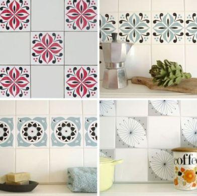 Decora o e projetos decora o com azulejos estampados com - Papel para azulejos de bano ...