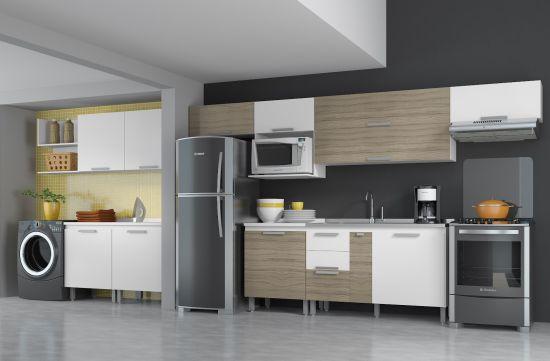 Optar por Cozinha e lavanderia integrada é a melhor opção para espaços reduzidos (Foto: Divulgação)