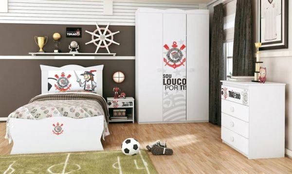 Os quartos com decoração de time de futebol são ótimas opções para quem quer extravasar sua paixão pelo time favorito (Foto: Divulgação)