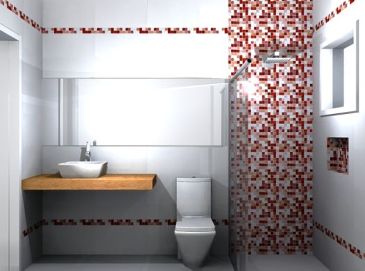 Invista em banheiro com pastilhas vermelhas para renovar o ambiente (Foto: Divulgação)