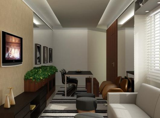 Sala De Tv Pequena E Estreita ~ Decoração e Projetos Como Decorar uma Sala Estreita