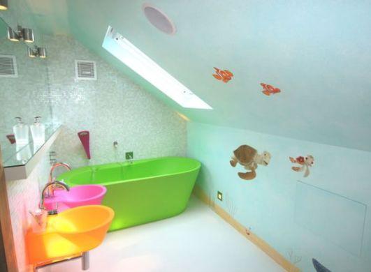 A decoração de banheiros infantis deve ser a mais divertida possível (Foto: Divulgação)
