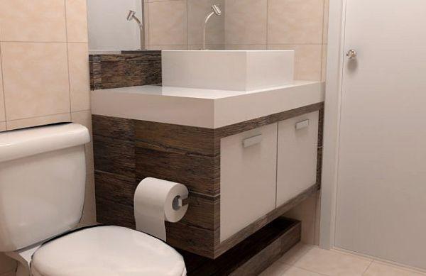 Decoração e Projetos – Decoração de Banheiros Pequenos com Armários -> Utensilios Para Decoracao De Banheiro