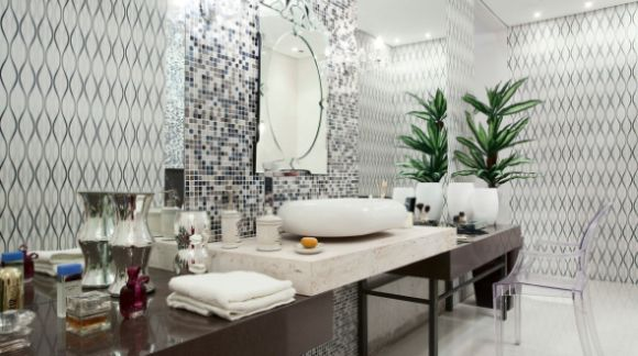 Decoração e Projetos Decoração de Banheiro com Pastilhas Cromadas -> Decoracao De Banheiro Com Pastilhas Lilas