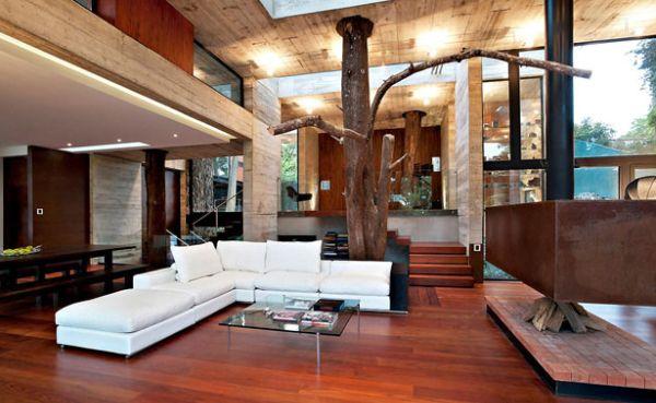 Decora o e projetos decora o de casas com rvores dentro - Casas de campo por dentro ...