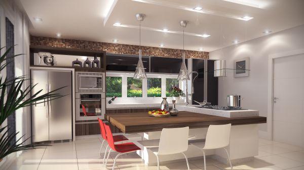 A decoração de cozinhas com gesso sofistica todo o ambiente e ainda garante charme instantâneo para os seus momentos de descontração na preparação dos alimentos (Foto: Divulgação)