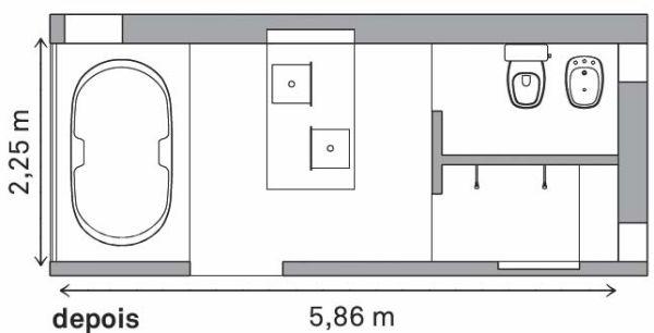 Decoração e Projetos Planta de Banheiro com Banheira e Boxe -> Planta De Banheiro Com Banheira Dupla