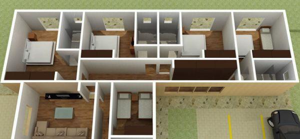 As plantas de casas grandes com 5 quartos é ótima opção para quem quer espaço (Foto: Divulgação)