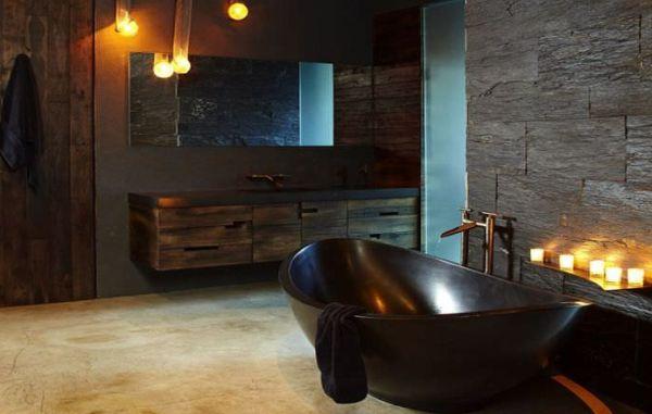 Por incrível que pareça a decoração rústica para banheiro também pode seguir por estilos diferentes (Foto: Divulgação)