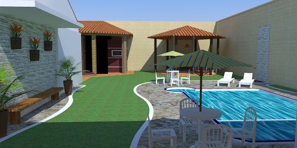 Há muitos projetos de casas com piscina nos fundo do terreno, escolha o que melhor se adequar ao seu caso (Foto: masterpiscina.com.br)