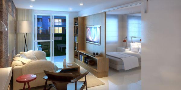 Projeto de quitinete com ambientes bem separados é uma ótima opção para quem busca privacidade, pelo menos para o seu quarto (Foto: complexomagazine.pt)