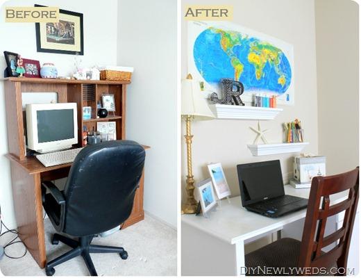 Reformando uma mesa do computador antiga você ganha um novo espaço sem muito custo (Foto: diynewlyweds.com)