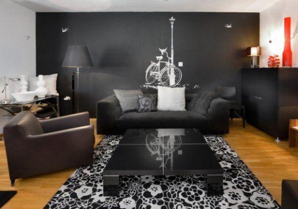 A decoração de salas com paredes pretas pode renovar o visual de toda a sua casa (Foto: stylemotivation.com)