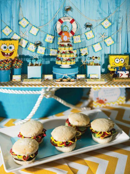 Decoração de festa infantil tema bob Esponja diverte e é muito fofa (Foto: blog.hwtm.com)