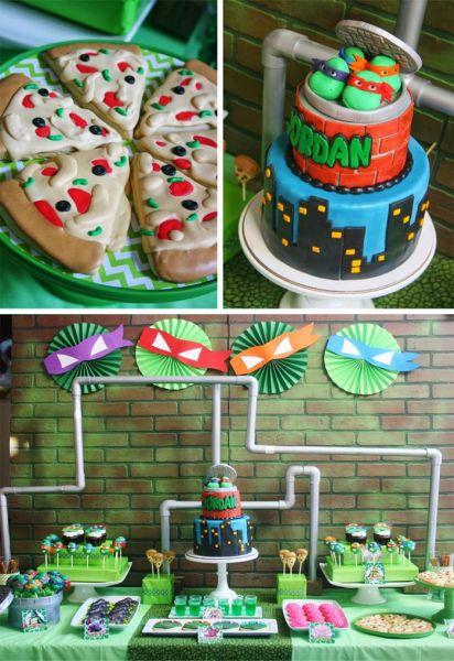 Há muitas ideias para festa das Tartarugas Ninjas, com uma ideia mais interessante que a outra (Foto: karaspartyideas.com)