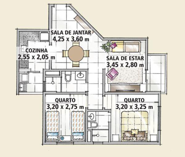 A decoração de apartamentos pequenos com 70 m² pode ser tão interessante quanto a decoração de um apartamento maior (Foto: casa.abril.com.br)