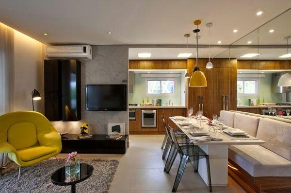Decoração de sala de jantar com canto alemão é sofisticada e renova facilmente o seu espaço (Foto: bihramos.com)