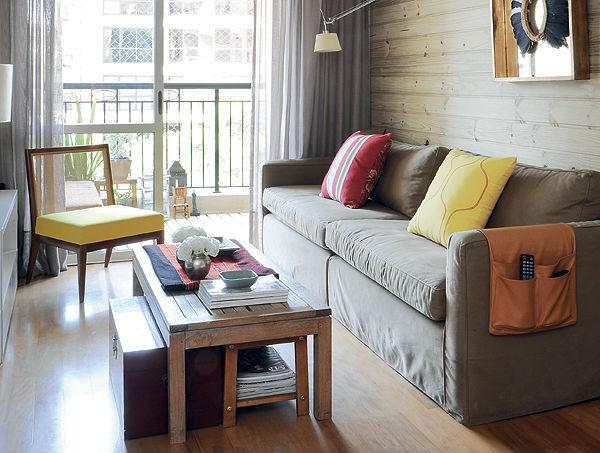 Decora o de sala de estar pequena com papel de parede - Papel decorado para paredes ...