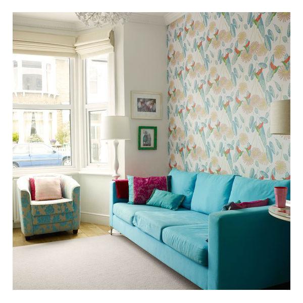 Sala Pequena Papel De Parede ~  Projetos Decoração de sala de estar pequena com papel de parede