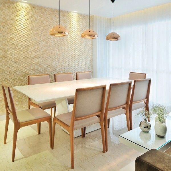 decoracao branca sala : decoracao branca sala:decoração de sala de jantar com mesa branca vai sofisticar a sua