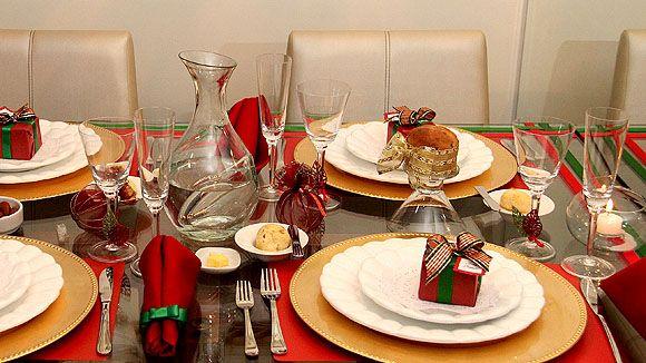 Decoraç u00e3o e Projetos Ideias para Decorar Mesa na Festa de Natal # Decoração De Natal Simples E Barata Para Mesa