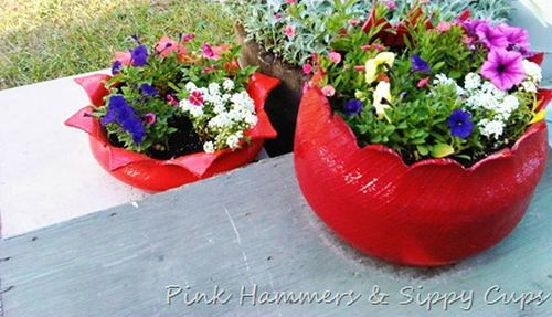 decoracao banheiro velho : decoracao banheiro velho: para jardim com pneu velho, pois ela é linda (Foto: pinkhsc.com