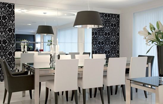 Papel de parede para sala de jantar é ótima opção para quem quer renovar de forma diferenciada este ambiente de seu lar (Foto: pinterest.com)