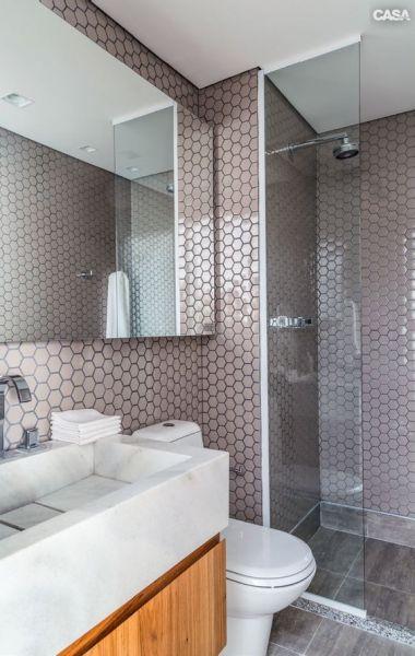 Decoração e Projetos Decoração de Banheiro Pequeno com Pastilhas -> Banheiro Moderno Marron